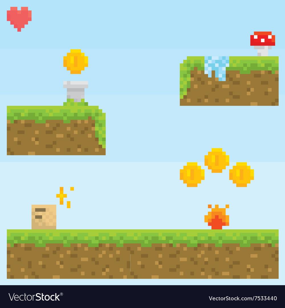 Pixel art style retro game level asset