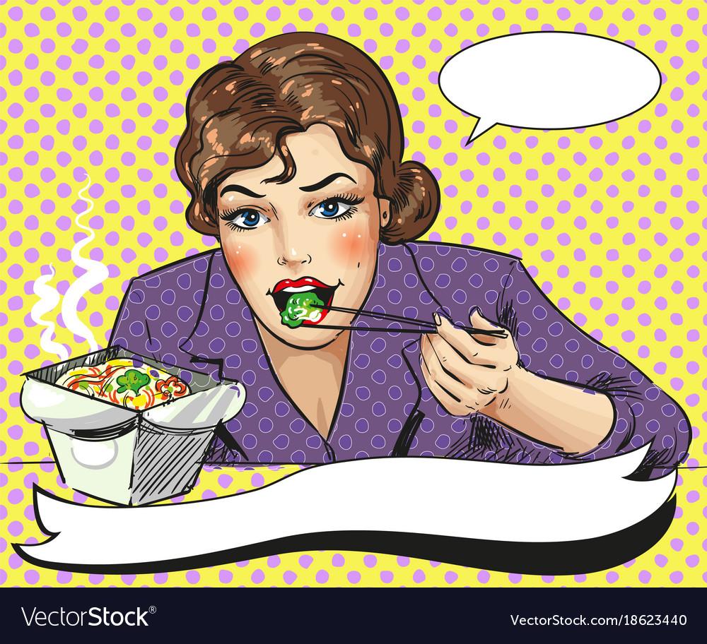 Pop art of woman eating