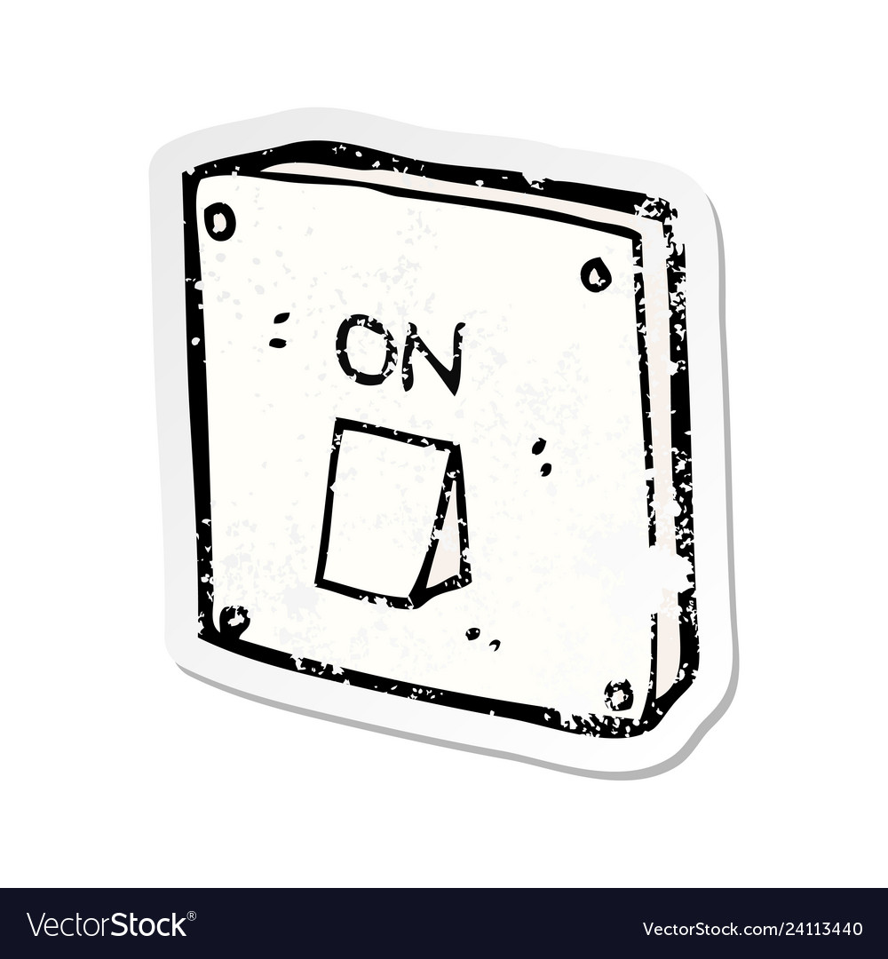 Retro distressed sticker of a cartoon light switch vector image on camera drawing, cable drawing, engine drawing, screwdriver drawing, living room drawing,