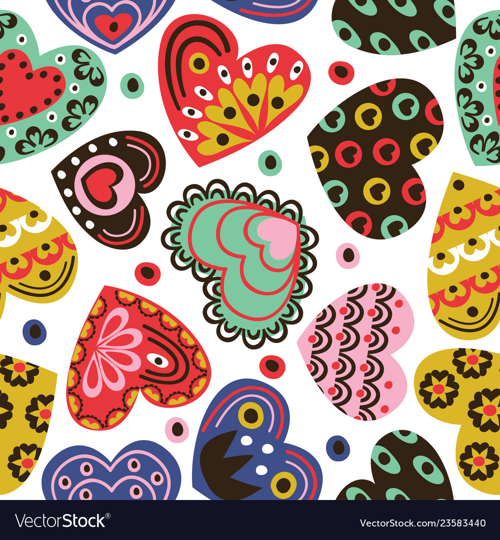Seamless pattern with vintage hearts