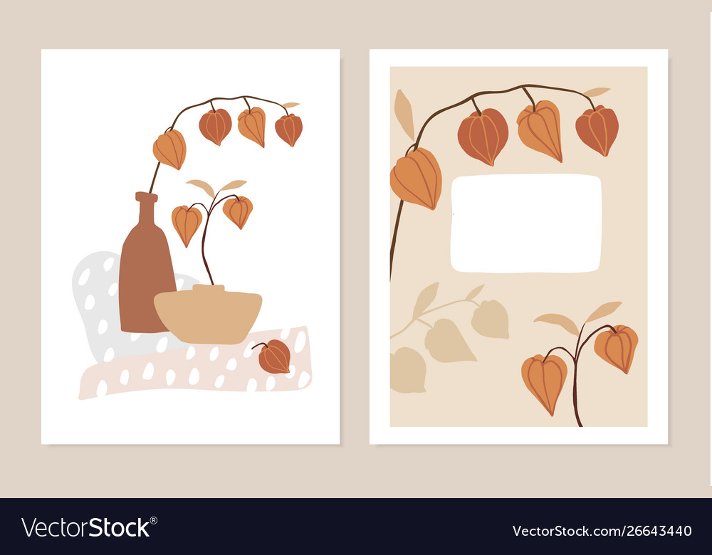 Trendy set floral fall greeting cards