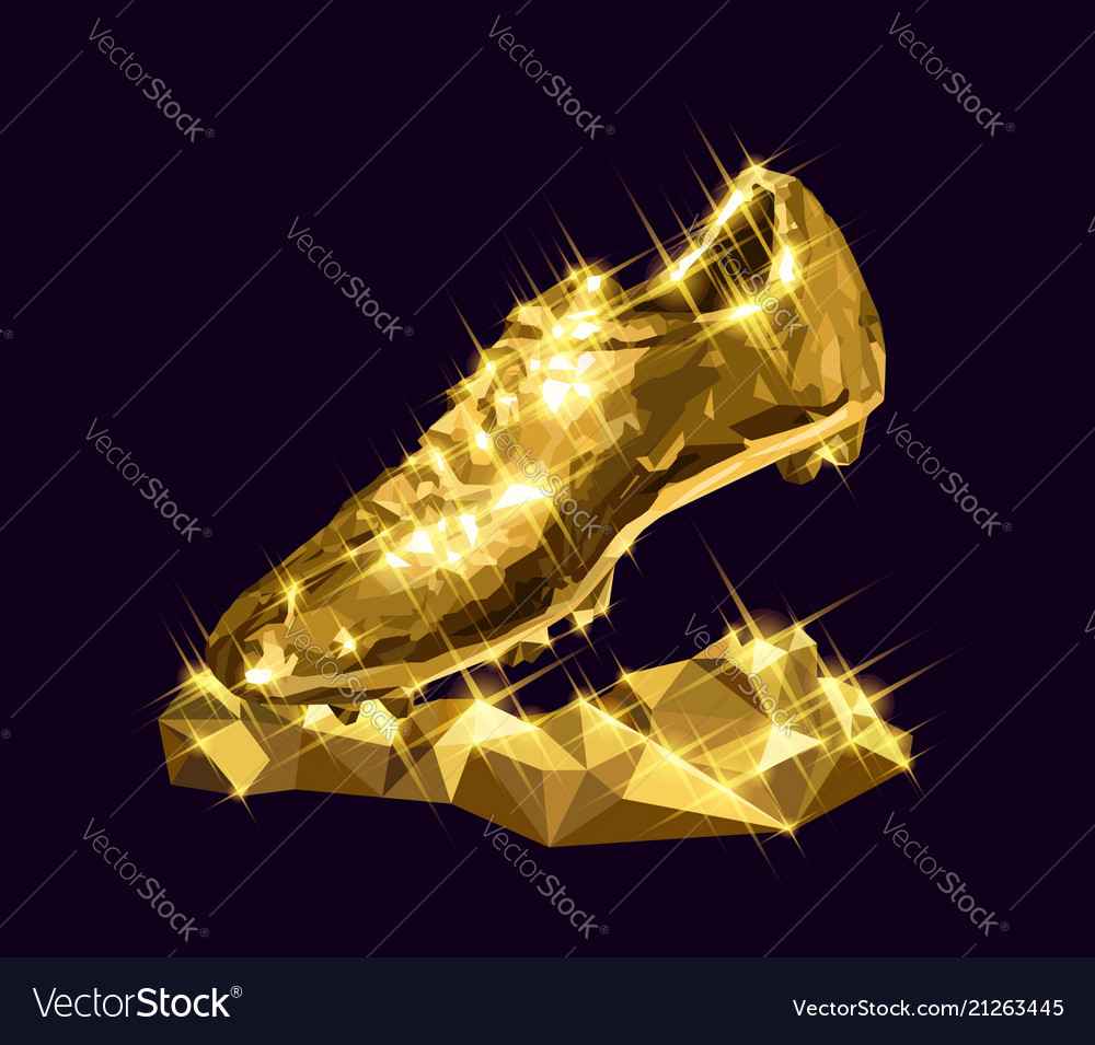 6103235e2 3d golden soccer shoe boot cleat Royalty Free Vector Image