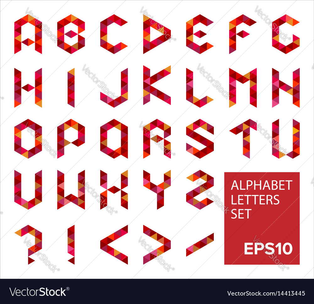 alphabet letters set in modern polygonal style vector image