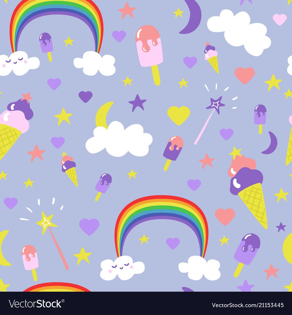 Cartoon fantasy ice-cream seamless pattern