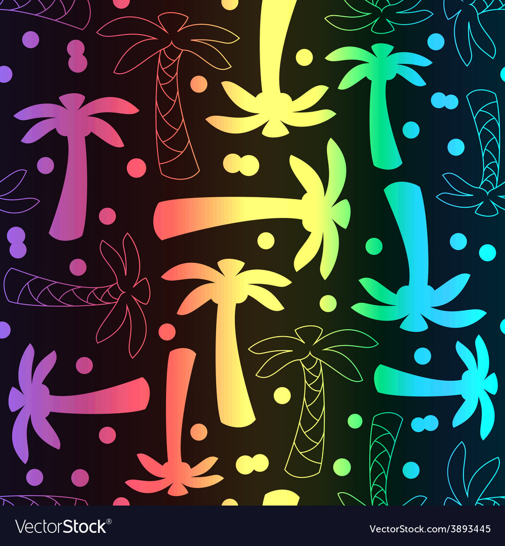 Coconut palm tree silhouette and outline seamless vector image