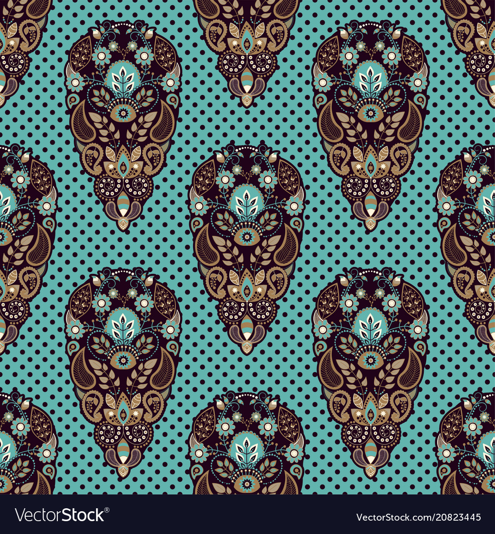 Colorful paisley seamless pattern indian