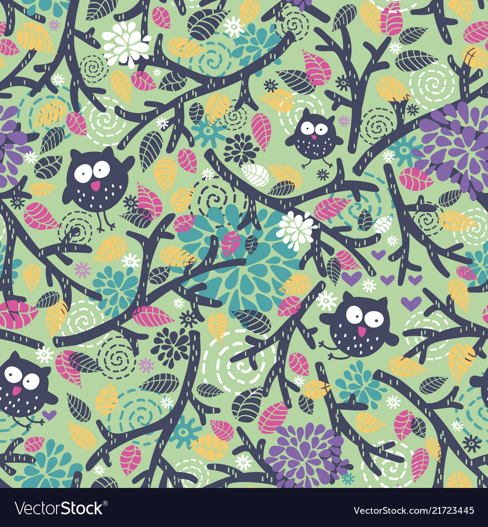 Creative children pattern with funny owls and