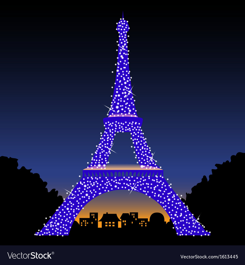 Eiffel Tower At Night Royalty Free Vector Image