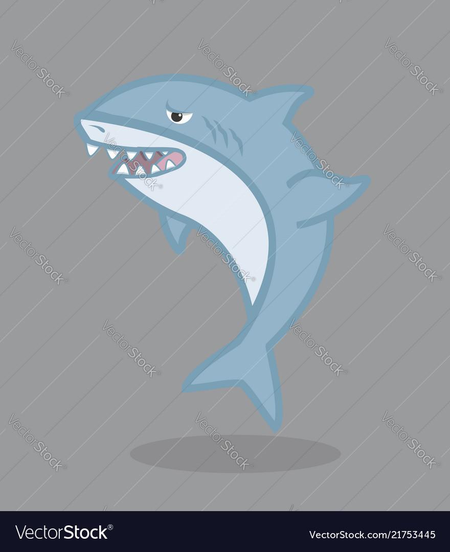 Funny shark cartoon character