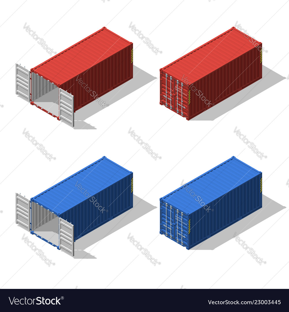 Isometric set of opened and closed shipping
