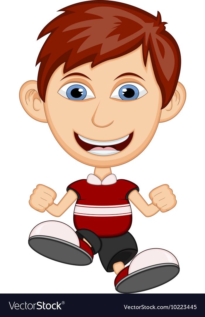 Little boy wearing a red shirt cartoon vector image