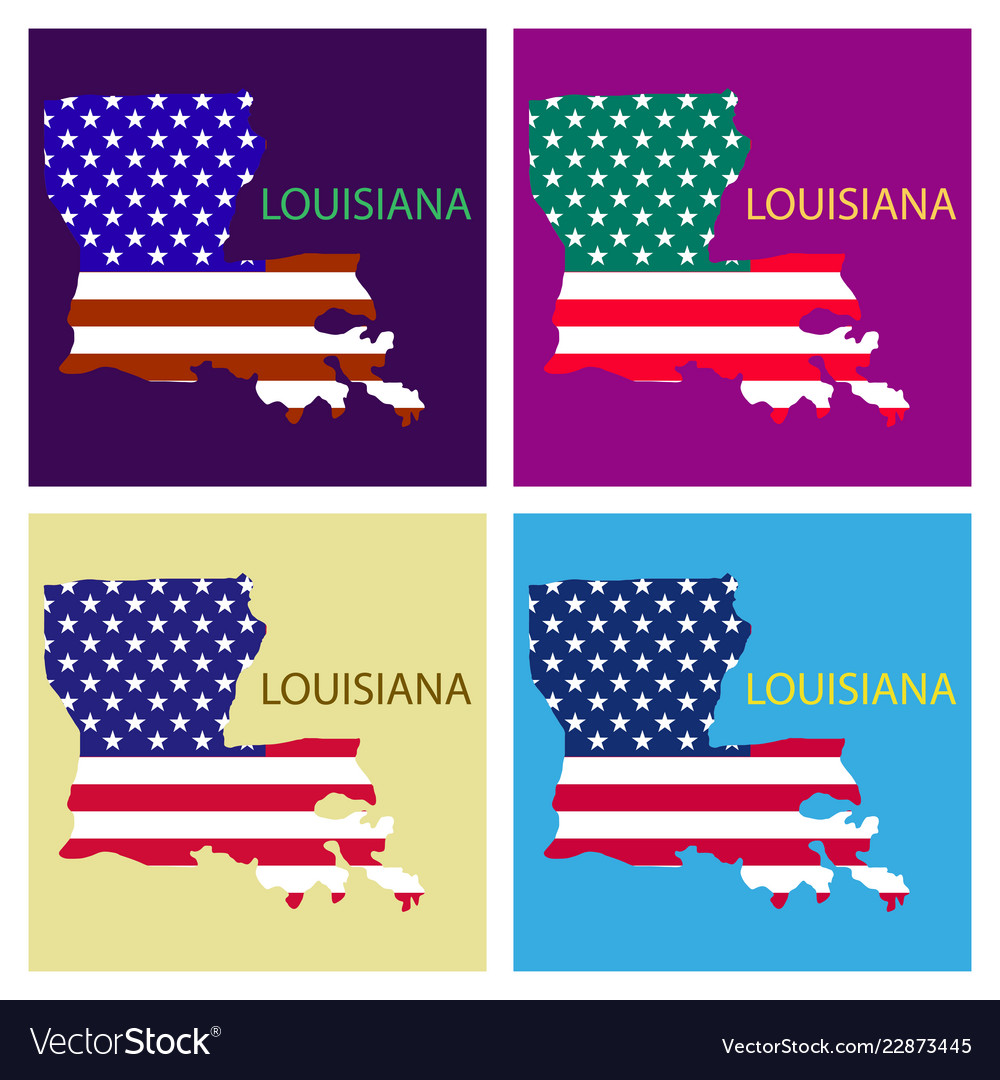 Geographic Map Of Louisiana.Louisiana State Of America With Map Flag Print On Vector Image