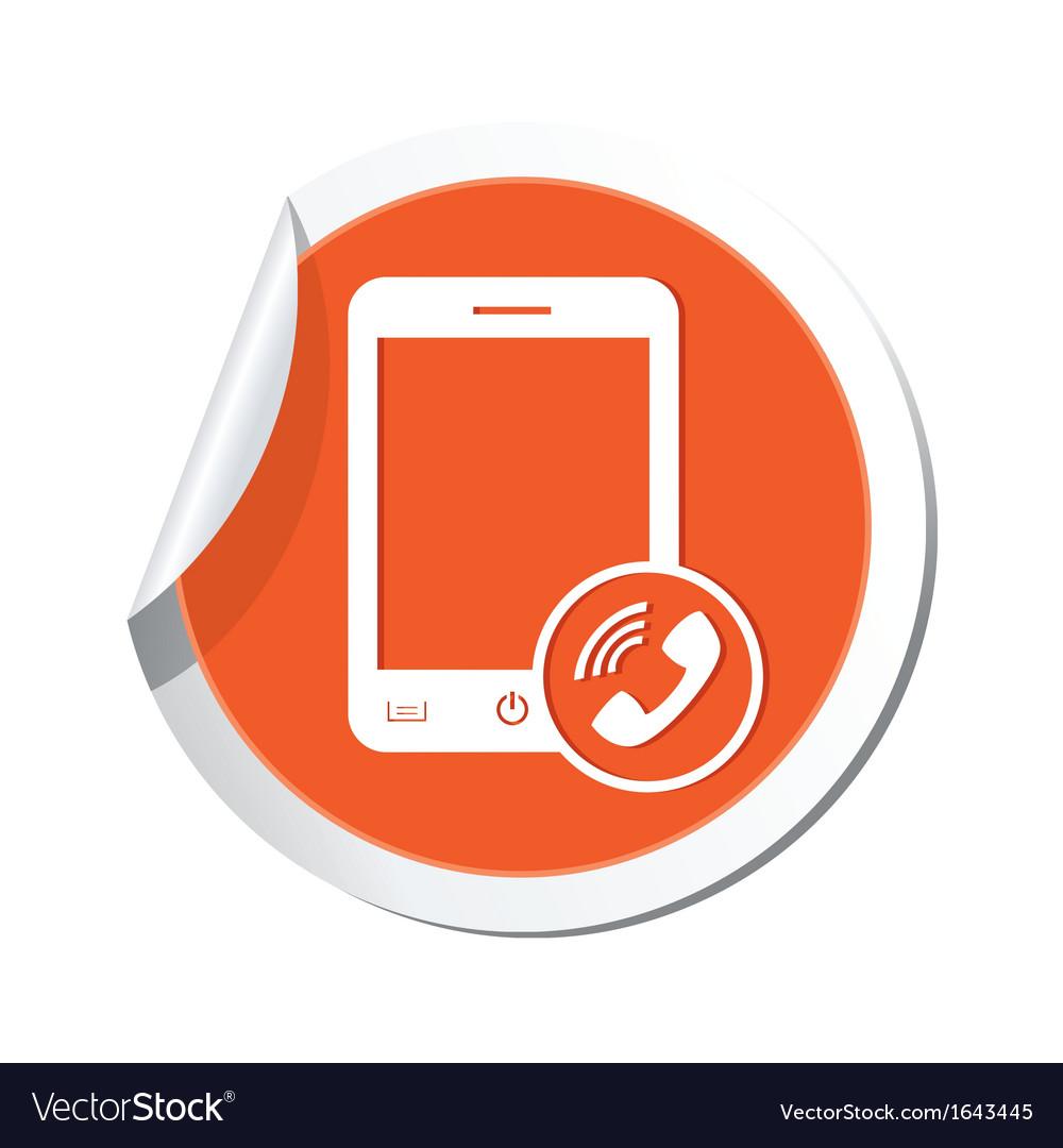Phone call icon orange sticker