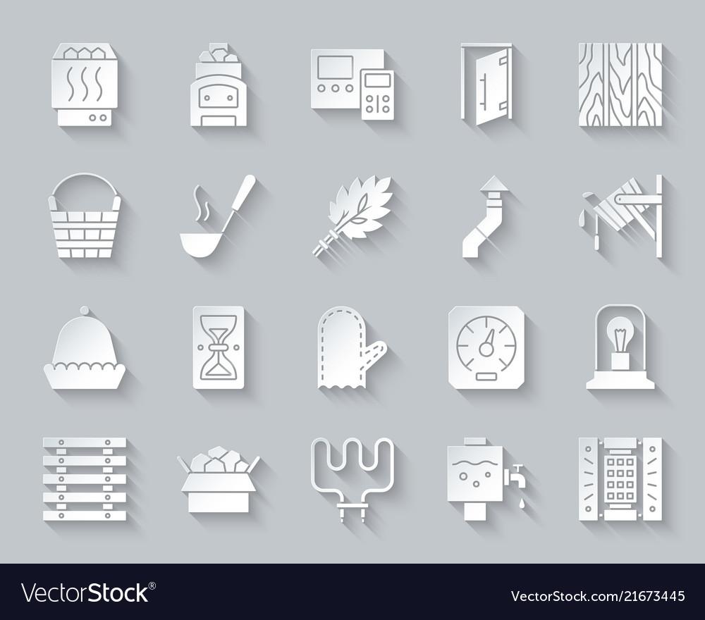 Sauna equipment simple paper cut icons set