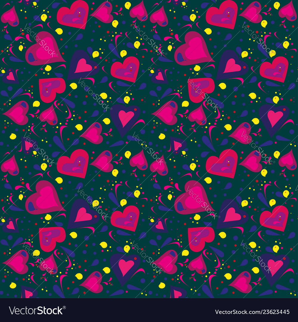 Seamless pattern hand drawn with different hearts