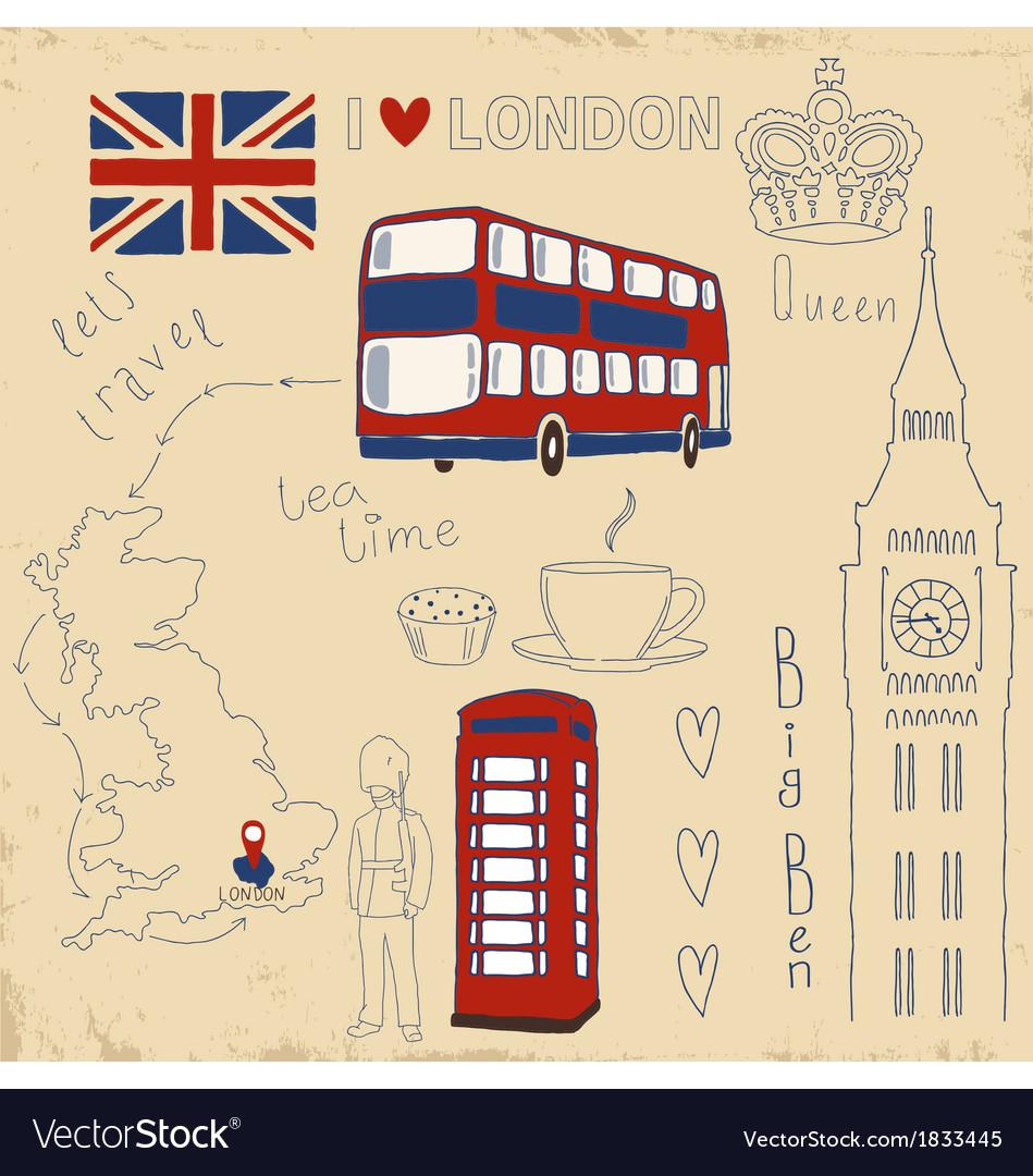 Set of London symbols on vintage vector image