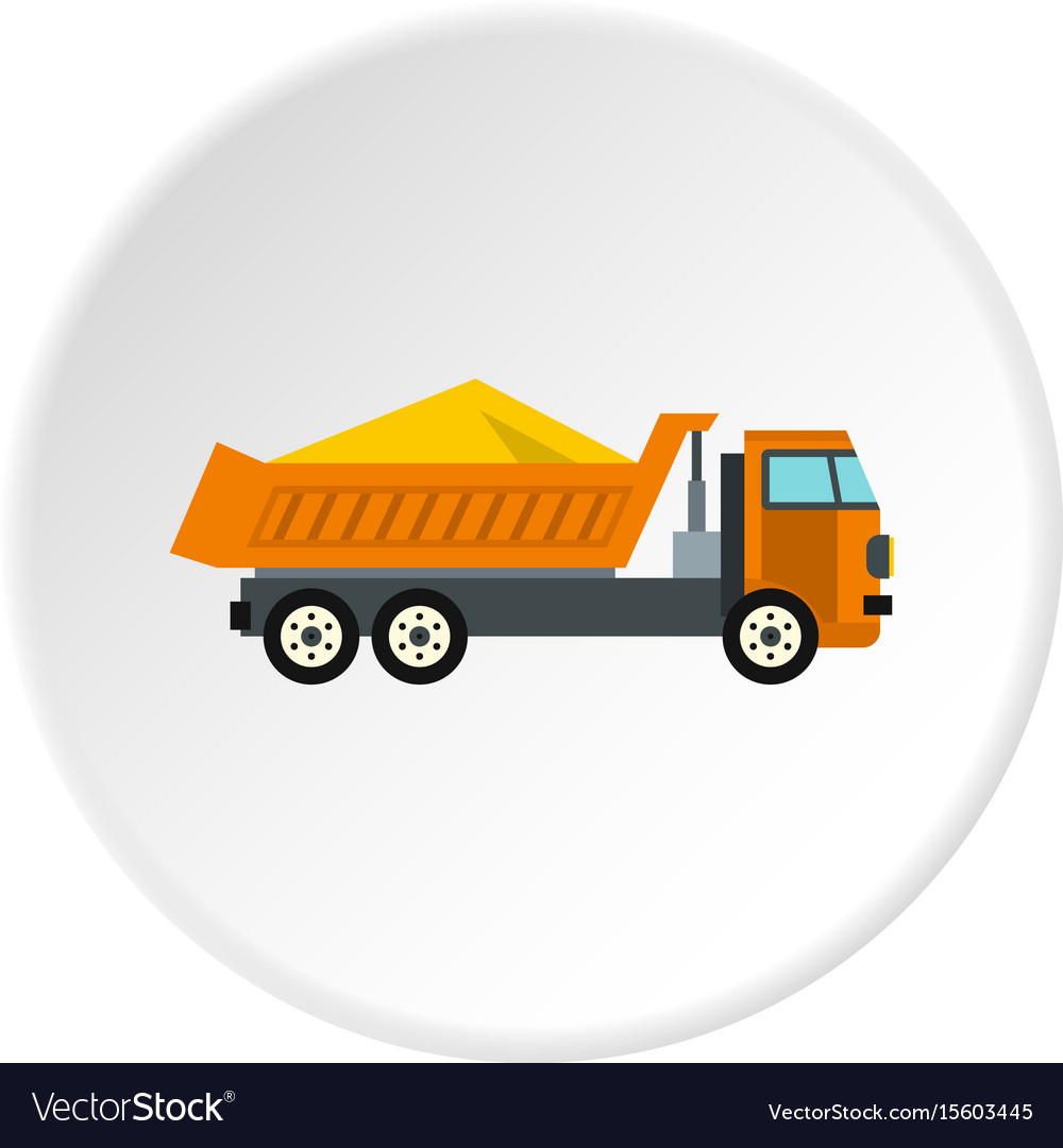 Truck with sand icon circle