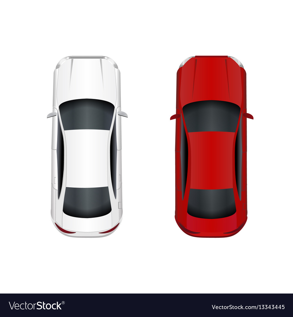 Two cars white and red isolated on white