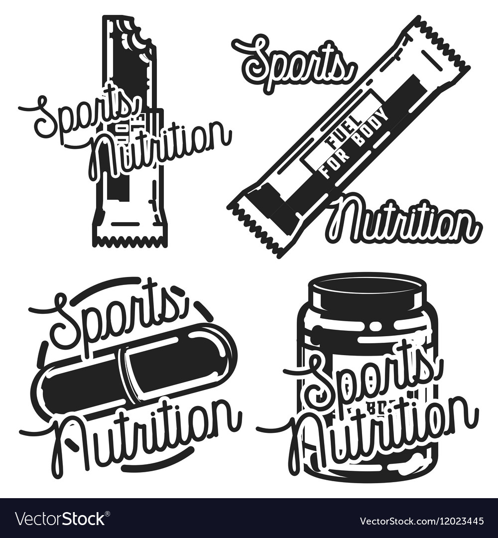 Vintage sports nutrution emblems vector image