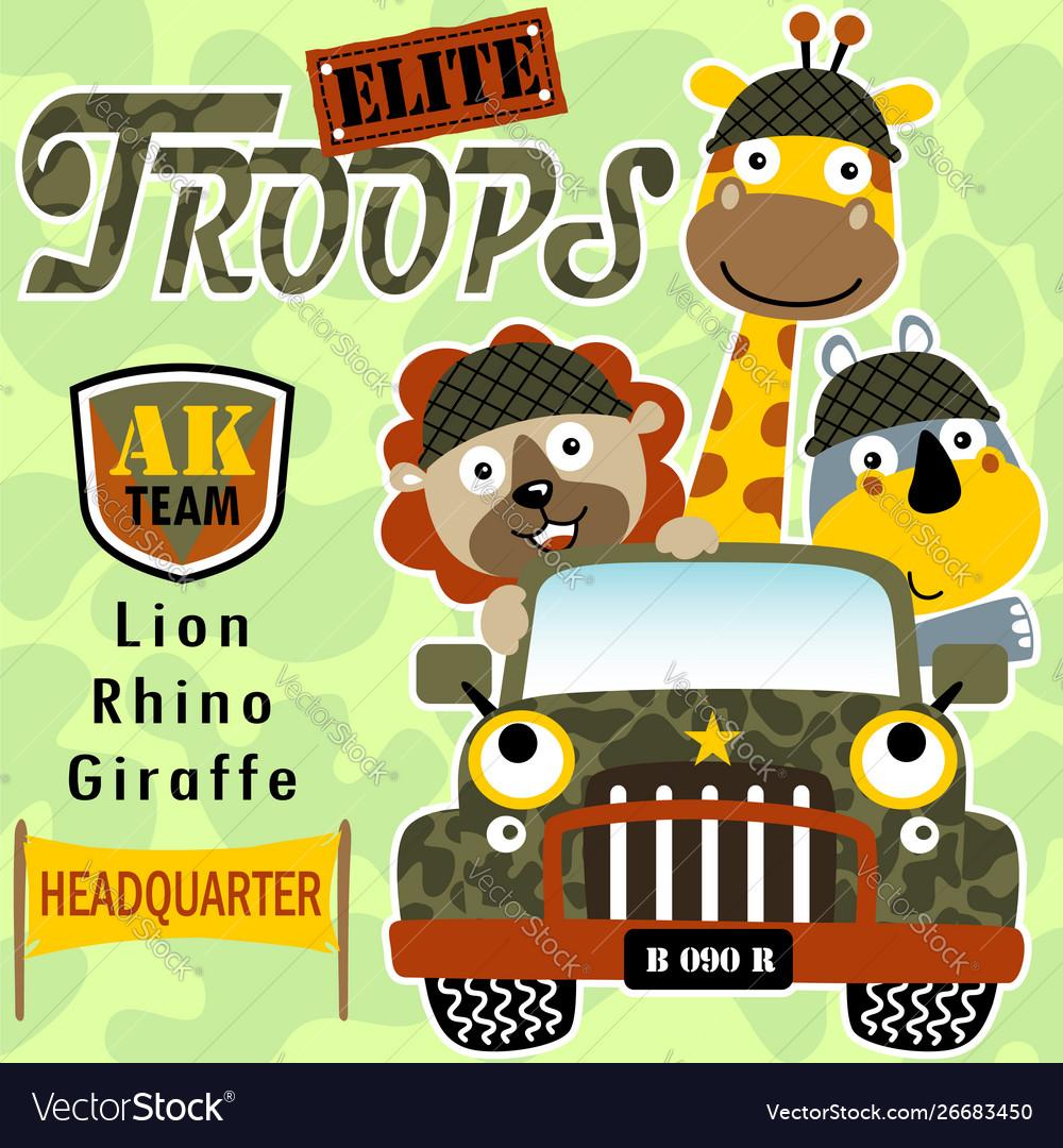 Animals soldier cartoon on military jeep