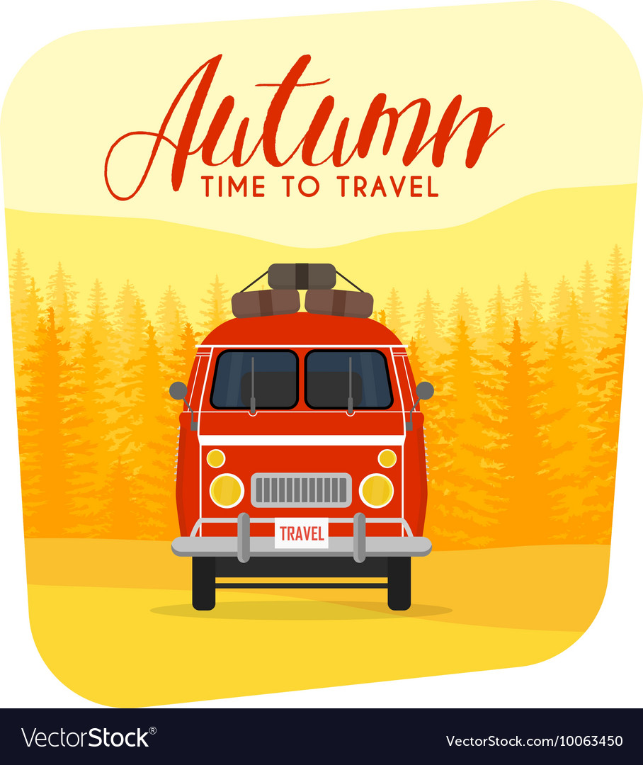 Autumn time family travel and trip The family car