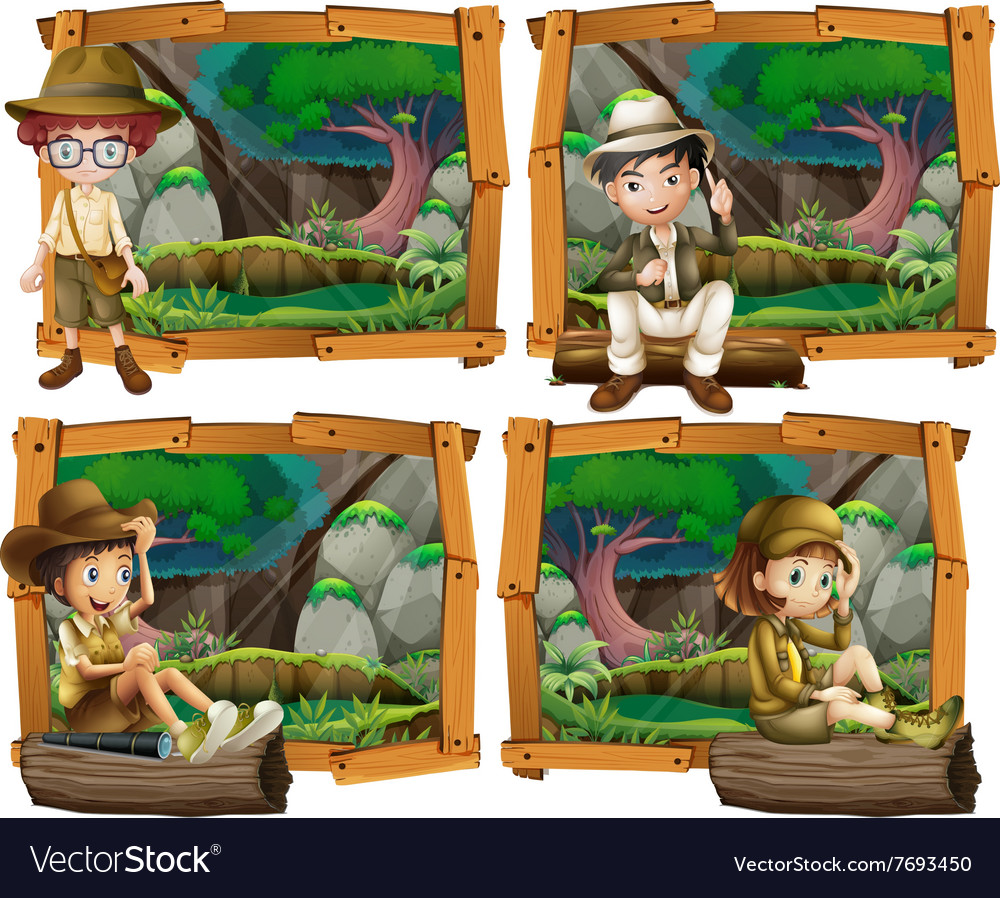Boys and girl camping in the woods vector image