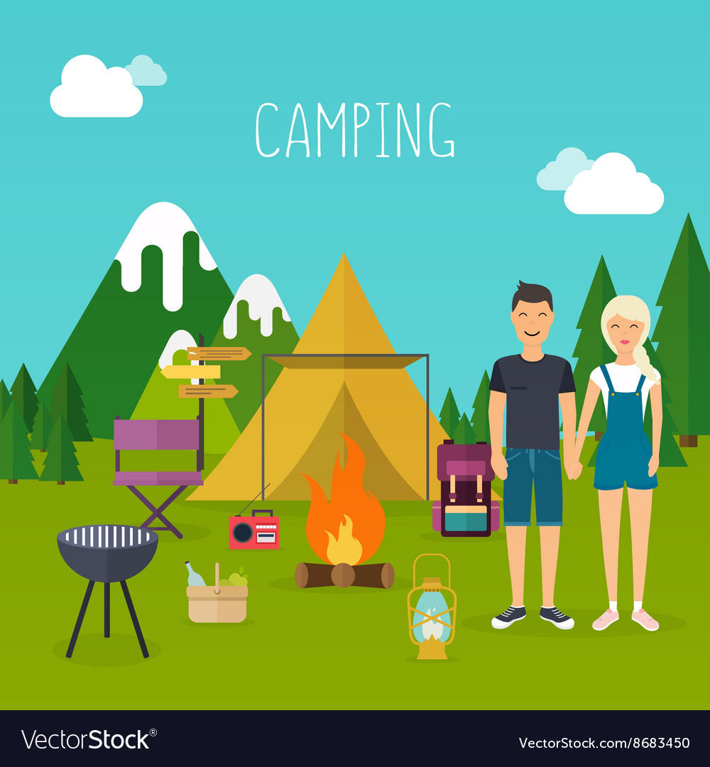Camping and outdoor recreation flat design