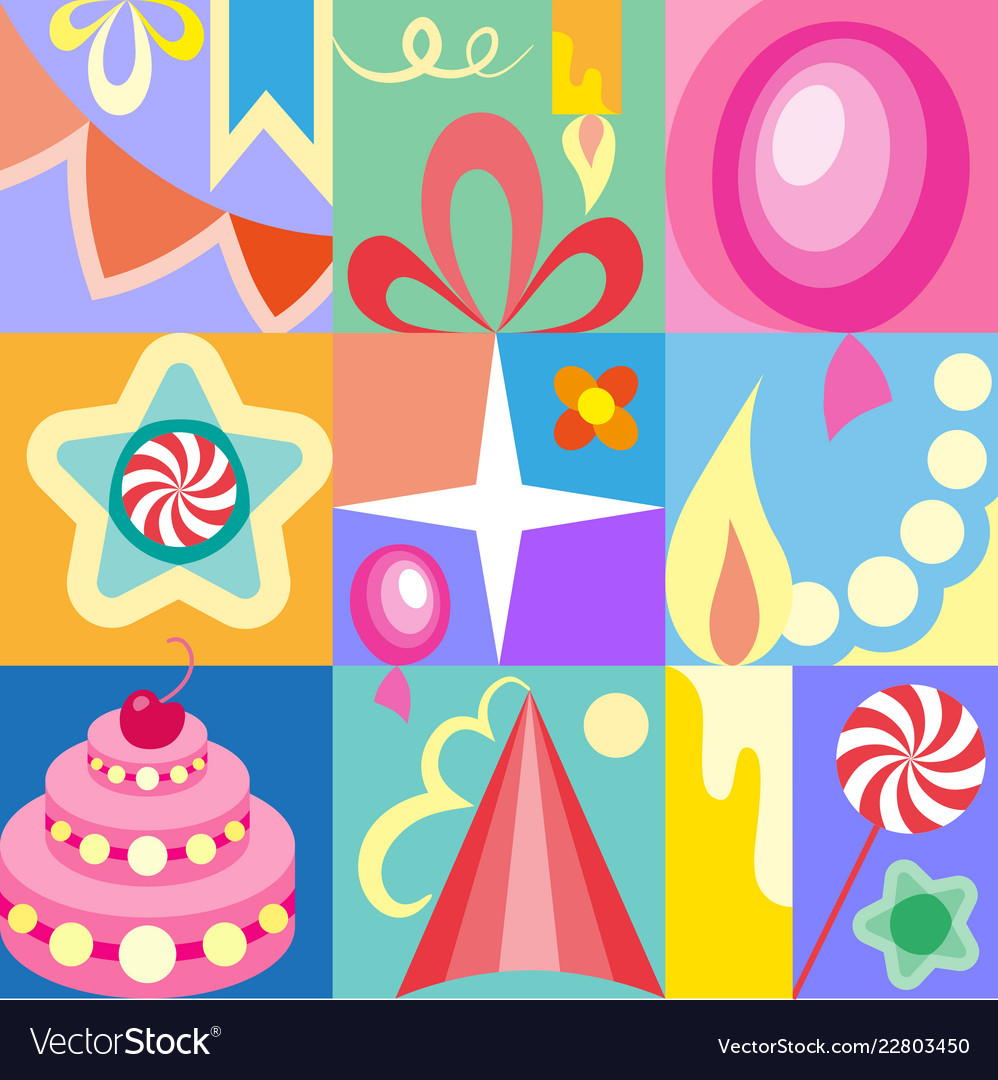 Celebratory set of birthday greeting cards kids