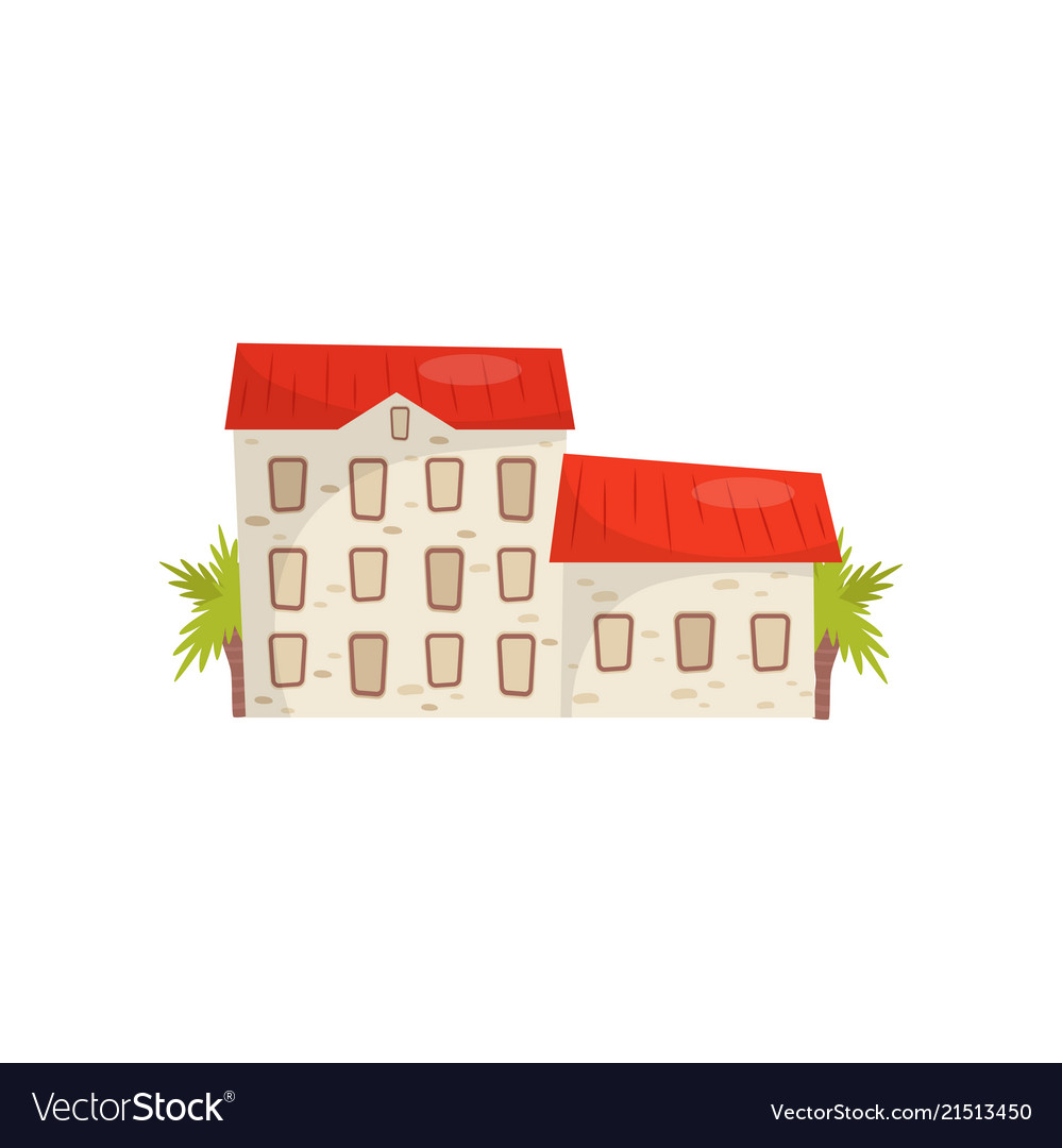 Flat icon of large stone house with bright