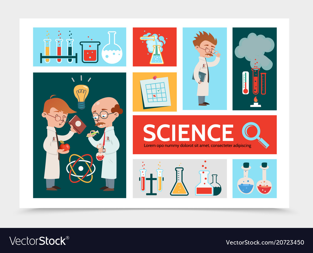 Flat scientific research infographic concept