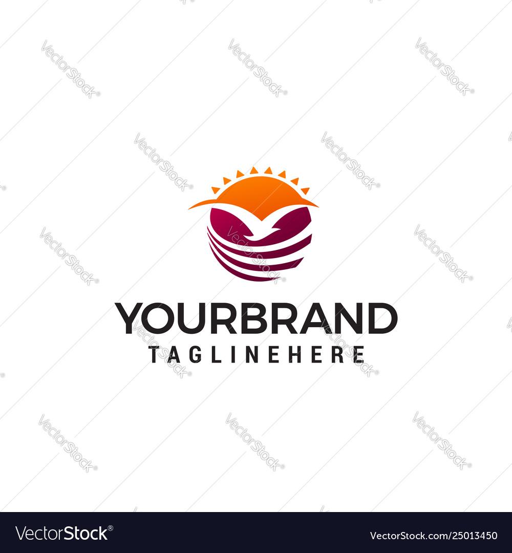 Fly bird sun logo design concept template