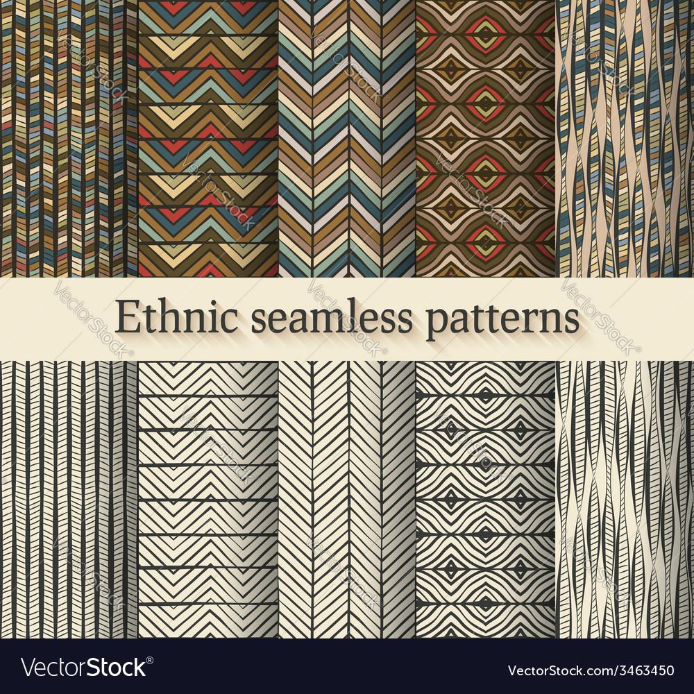 Hand drawing ethnic seamless patterns set