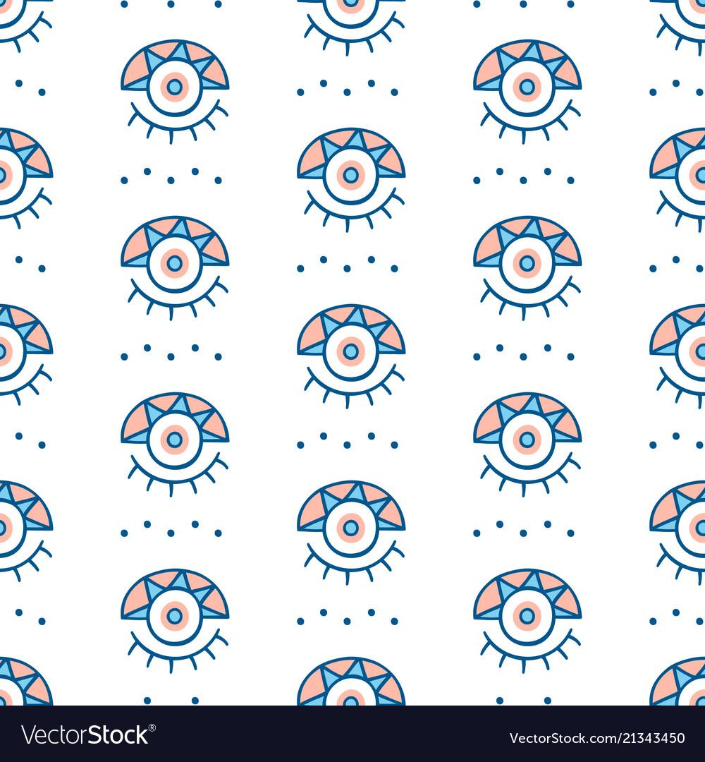 Hand drawn greek eyes seamless pattern