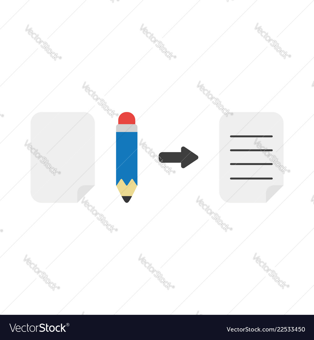 Icon concept of blank paper pencil and written