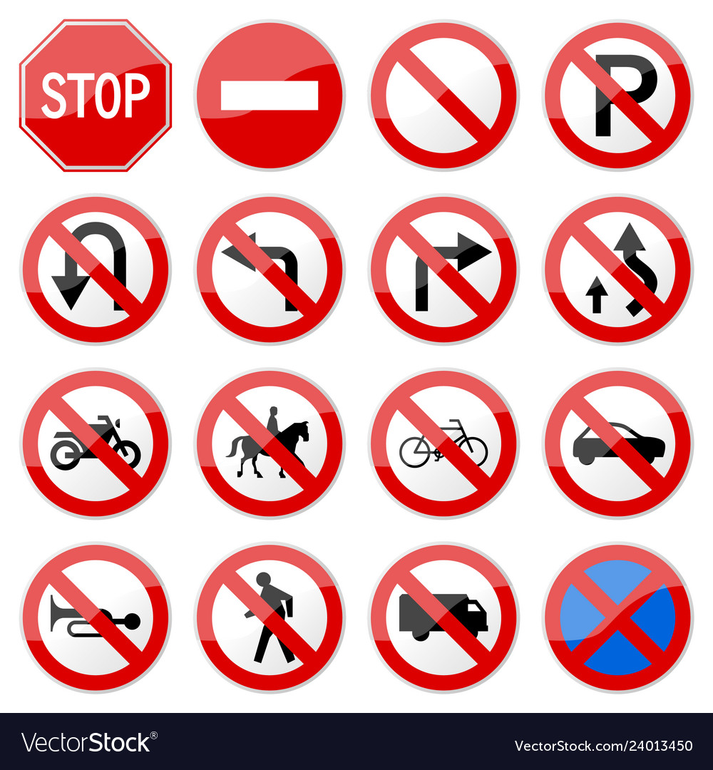 Road sign glossy set of road sign glossy