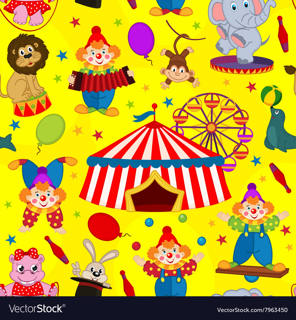 Seamless pattern circus with clown and animals