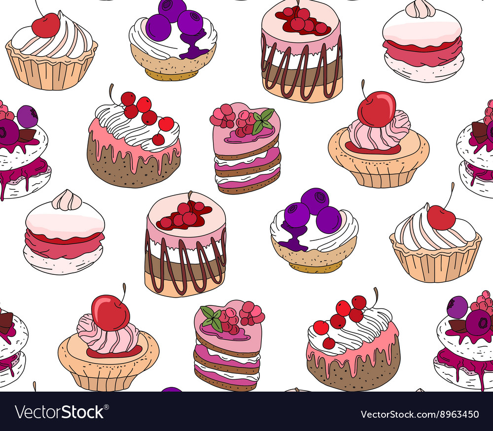Seamless pattern wit different kinds of dessert