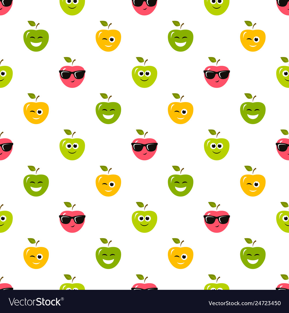 Seamless pattern with colorful apples with