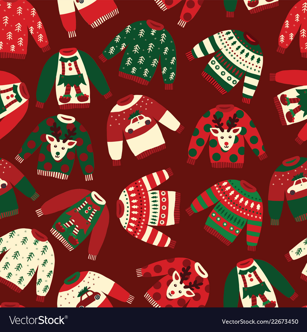 Ugly Christmas Sweaters Patterns.Seamless Ugly Christmas Sweaters Pattern