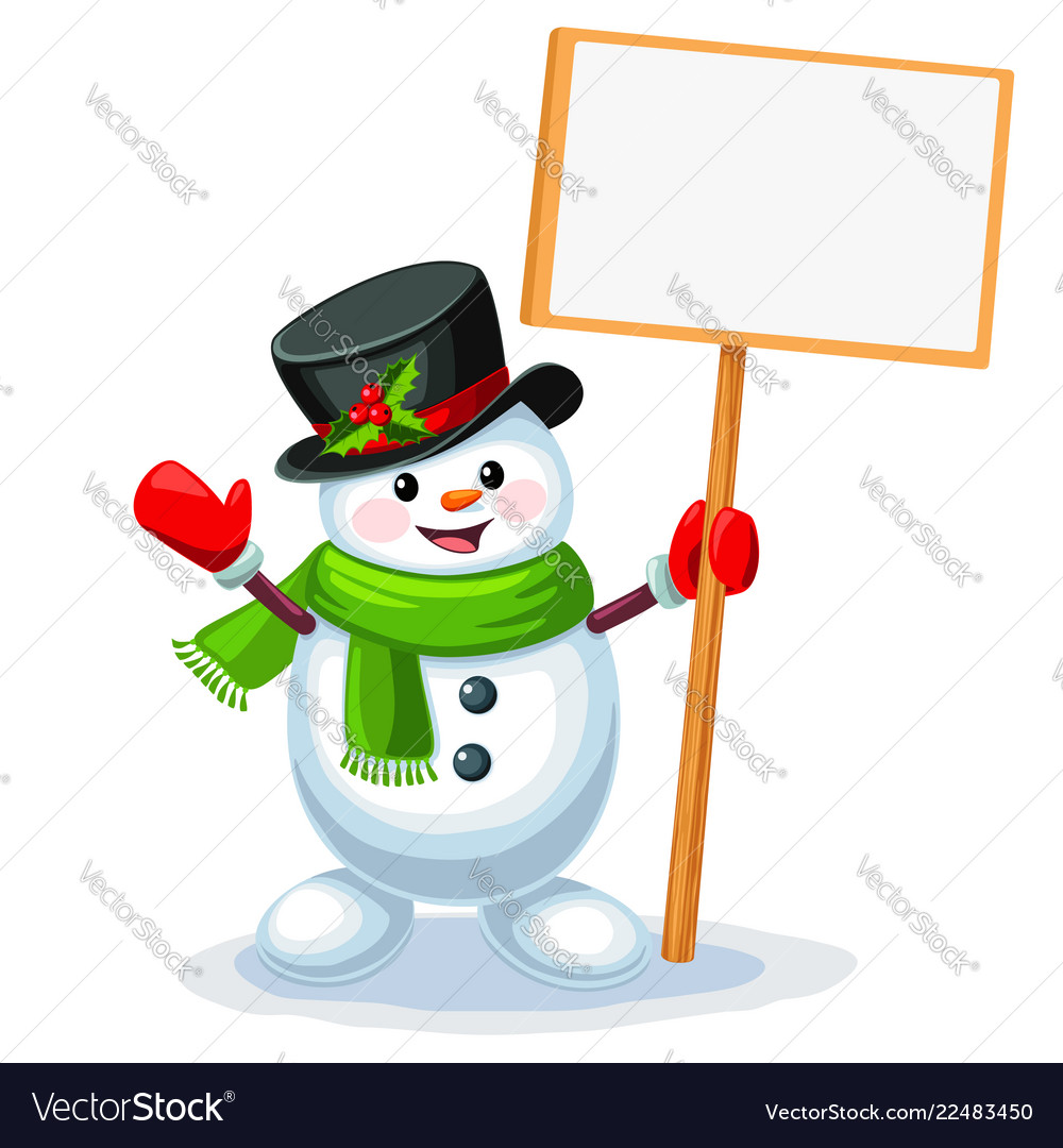Snowman with blank sign board with space