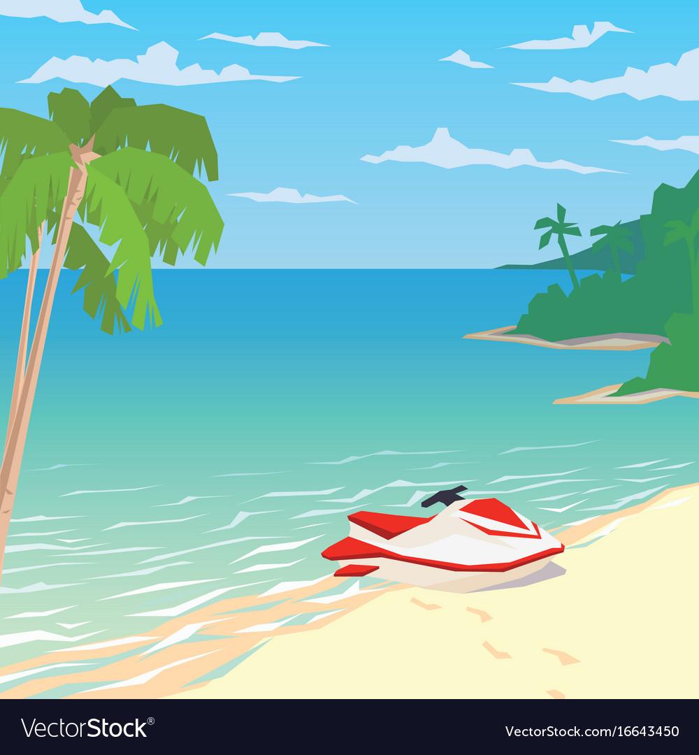 Water bike on sandy beach with palms