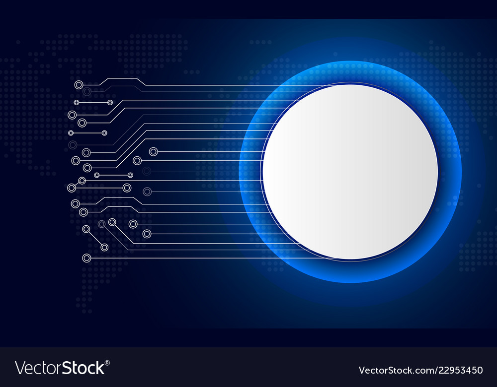 White technology circle button on blue abstract