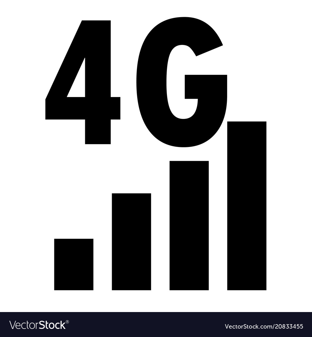 4g network filled icon on white background flat