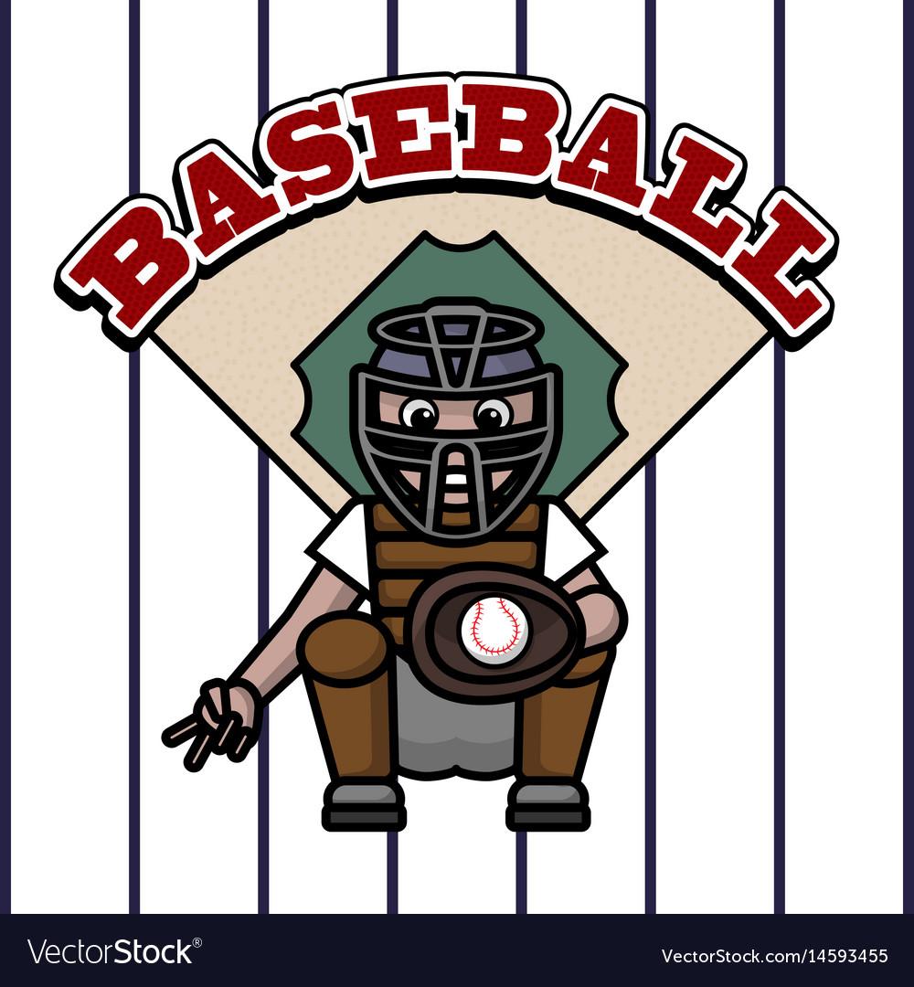 Baseball player caught in ball