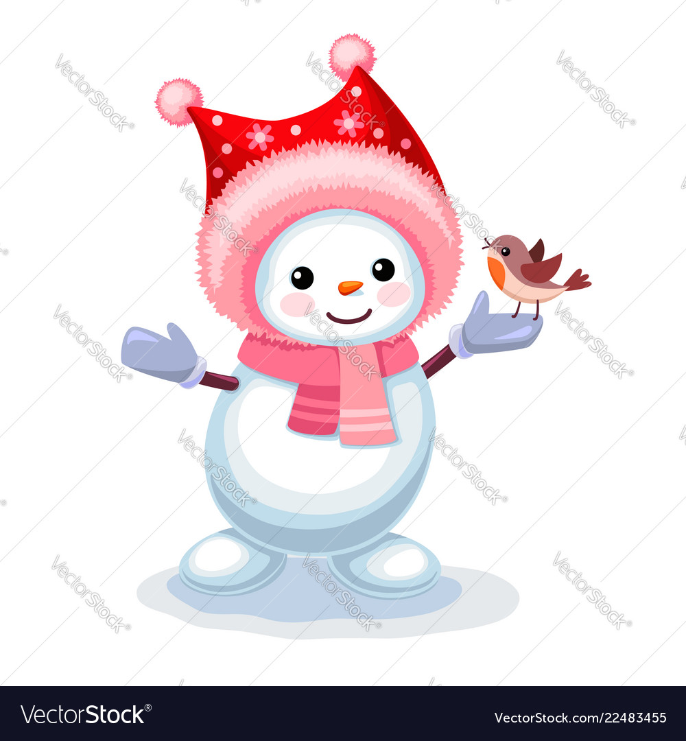 Cute snowman with a small bird on his hand