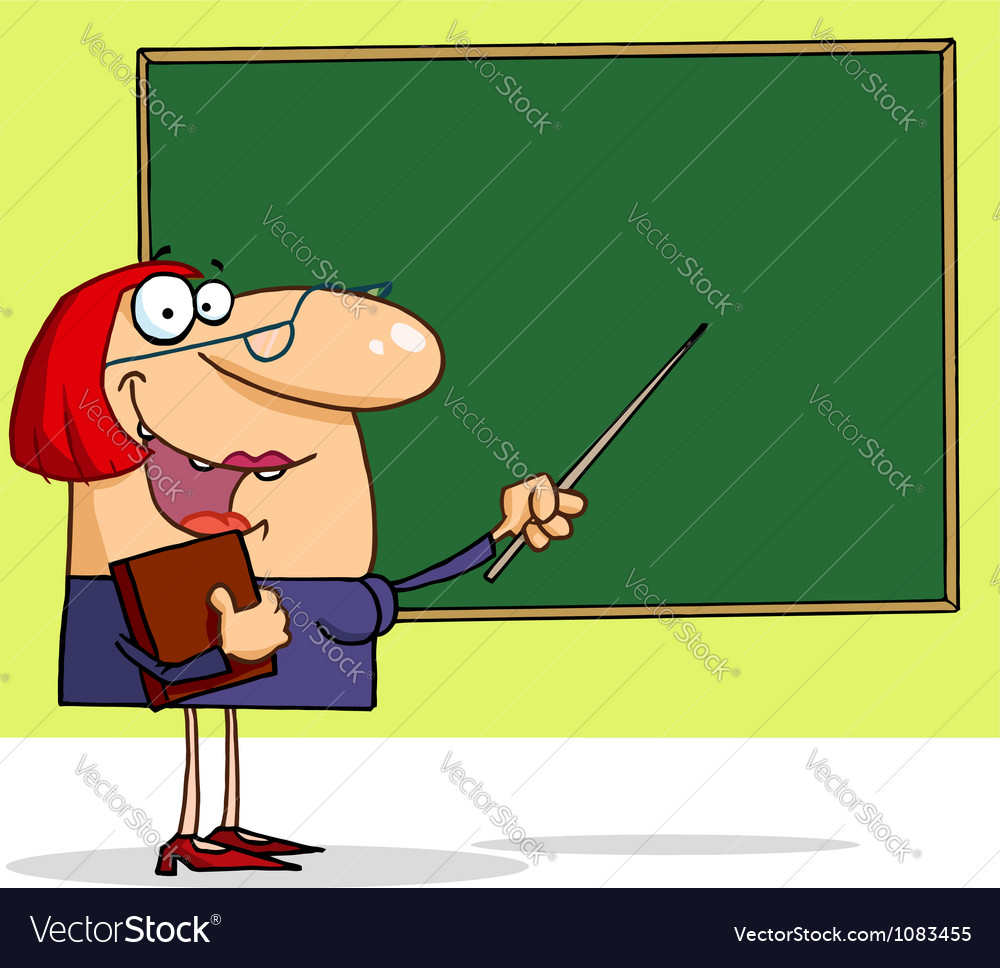 friendly female teacher pointing to a chalkboard vector image rh vectorstock com Teacher Pointing at Chalkboard Teacher Standing at Chalkboard Clip Art