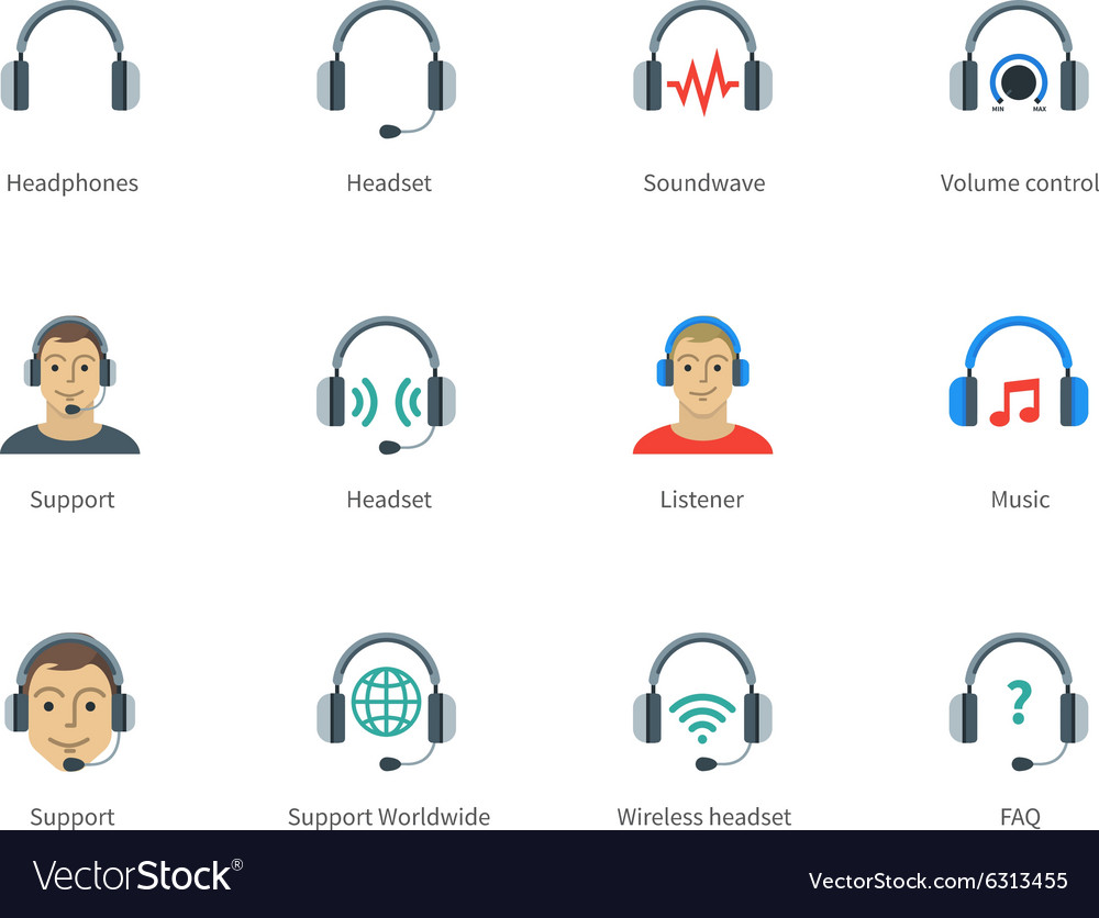 Headphones and headset color icons on white