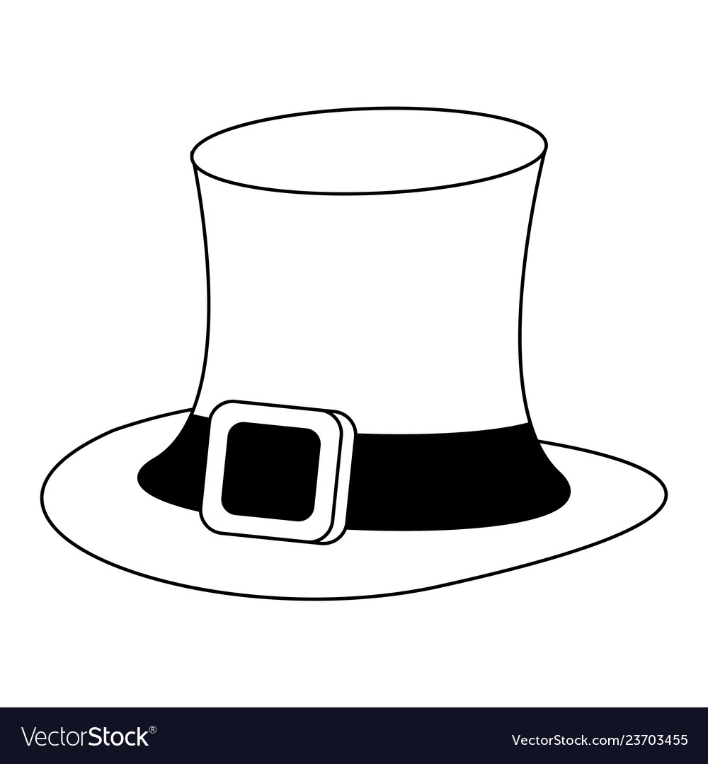 7216d86b414 Irish elf hat cartoon black and white Royalty Free Vector