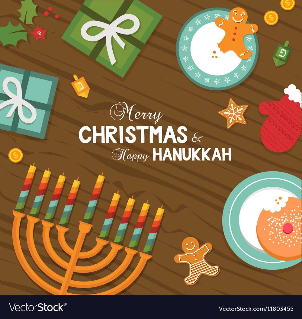 Christmas Hannakah.Merry Christmas And Happy Hanukkah Celebration