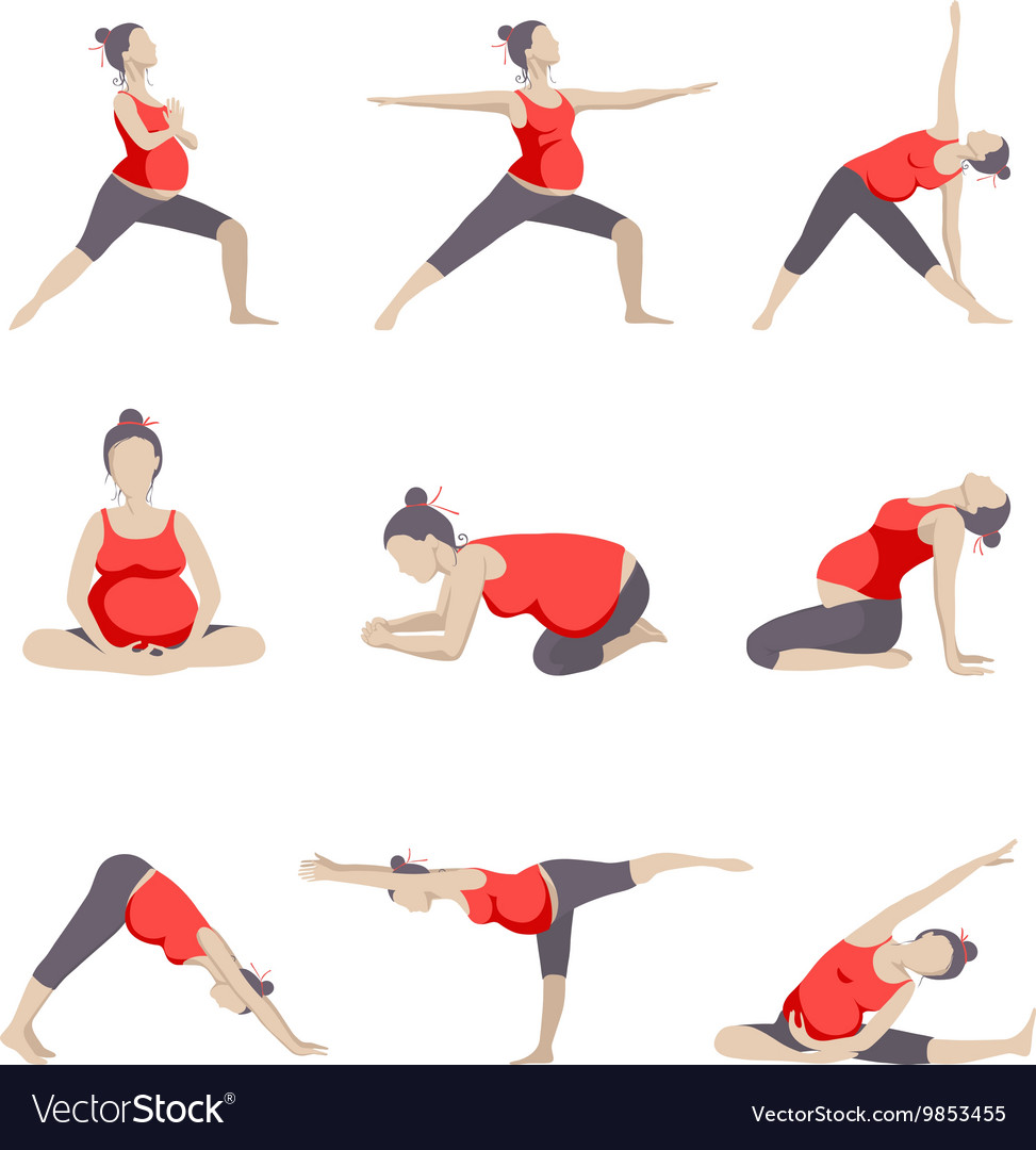 Set Of 9 Yoga Poses For Pregnant Women Royalty Free Vector